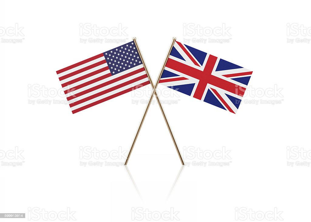 Tiny American and British Flag Pair on Gold Sticks stock photo