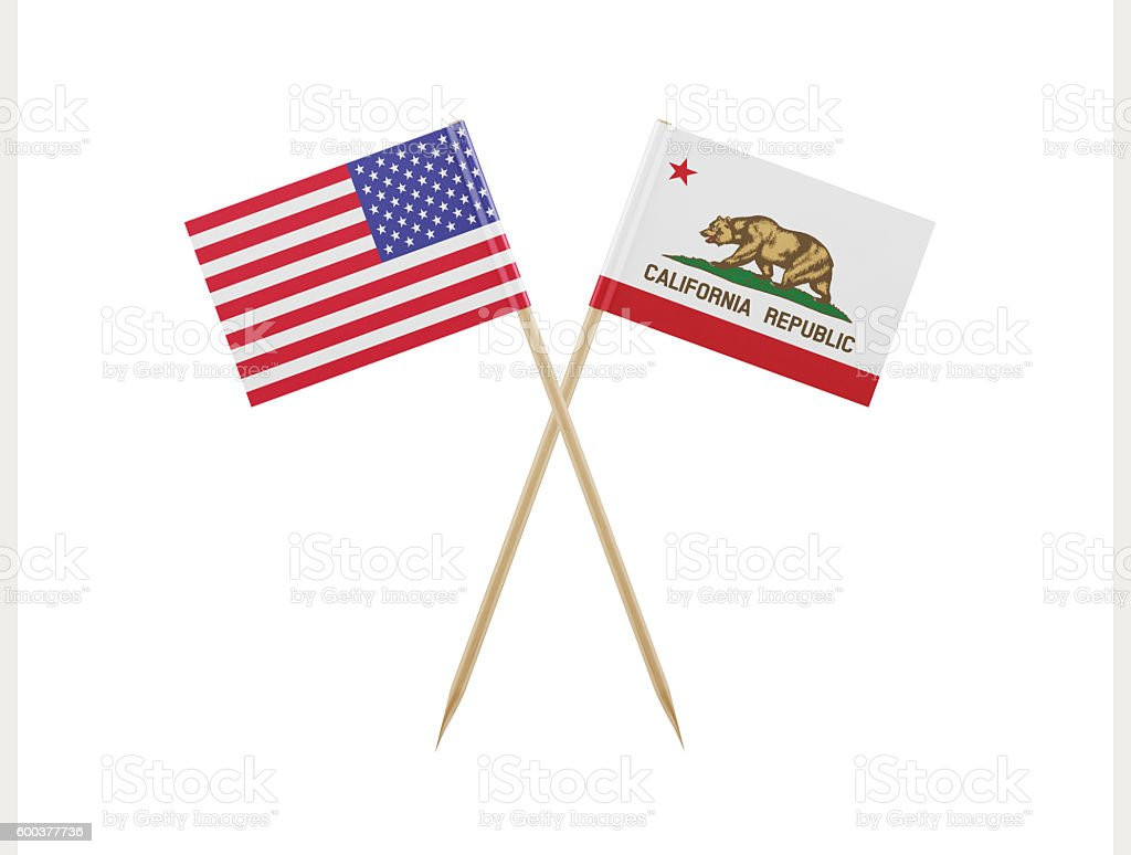 Tiny American and California Flag on a Toothpick stock photo