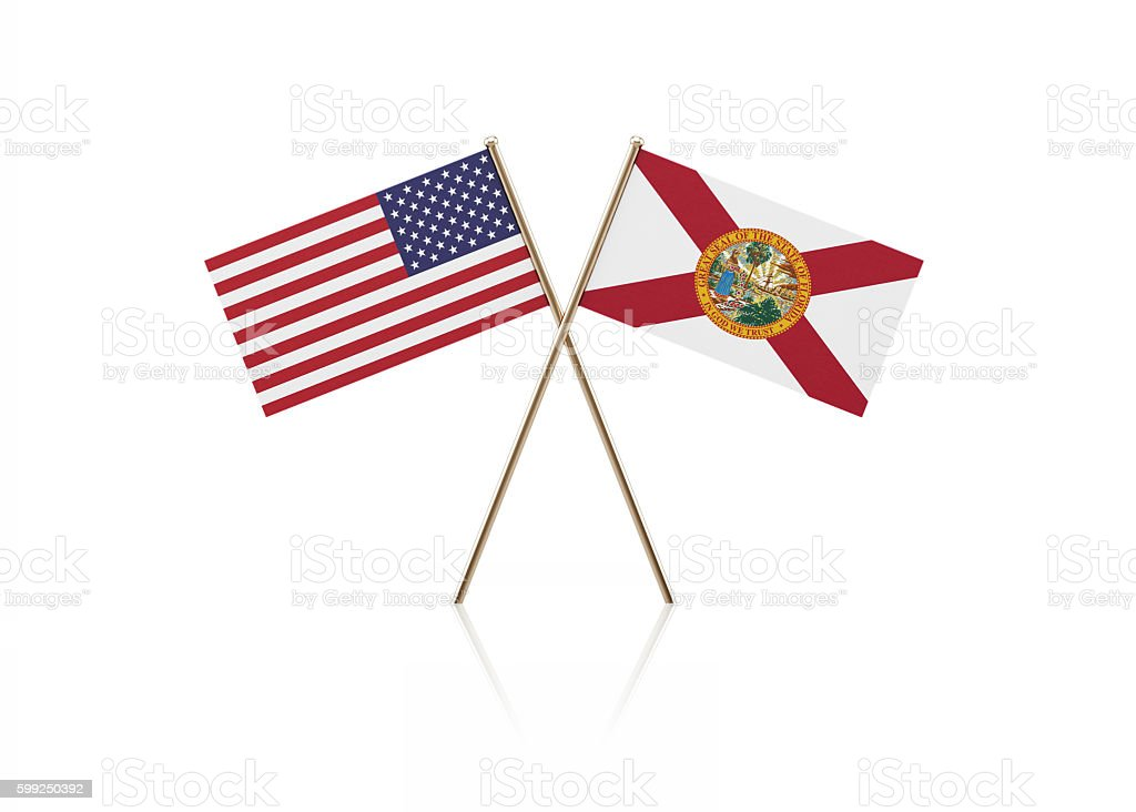 Tiny American and Florida State Flag Pair on Gold Sticks stock photo