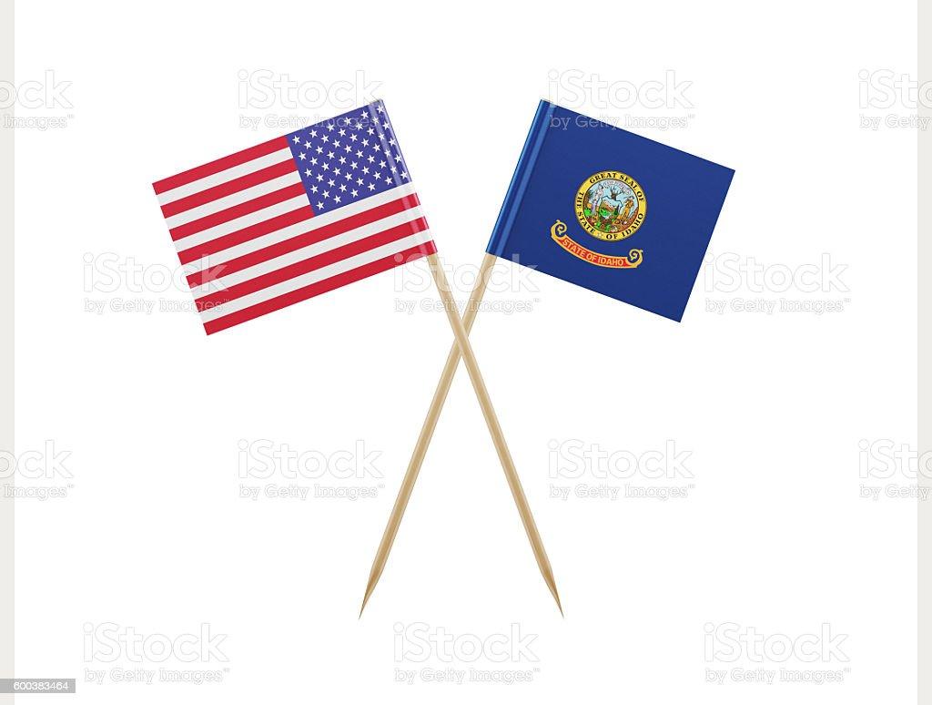 Tiny American and Idaho Flag on a Toothpick stock photo