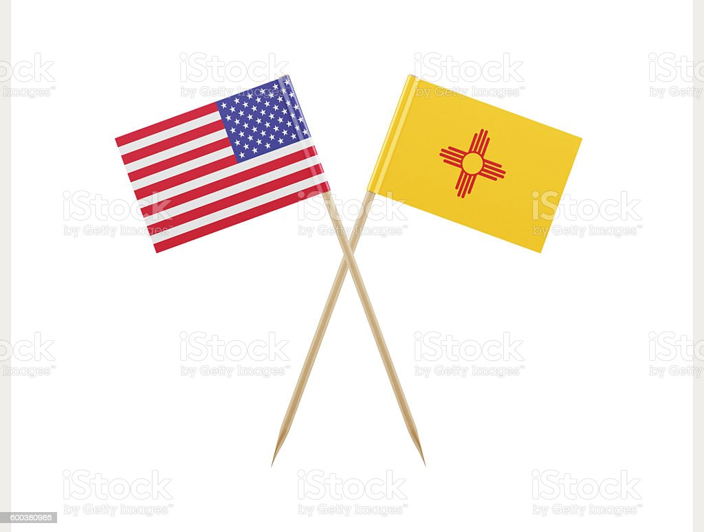Tiny American and New Mexico Flag on a Toothpick stock photo
