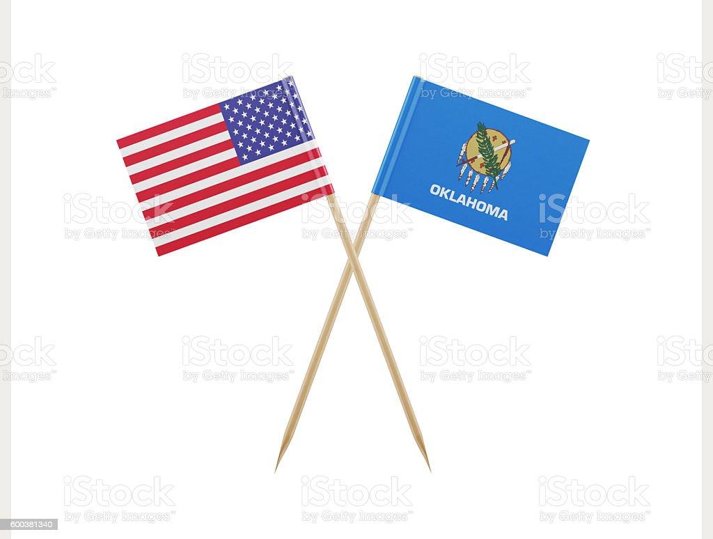 Tiny American and Oklahoma Flag on a Toothpick stock photo