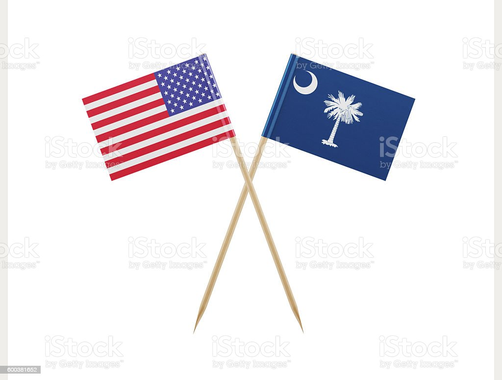 Tiny American And South Carolina Flag On A Toothpick stock photo ...