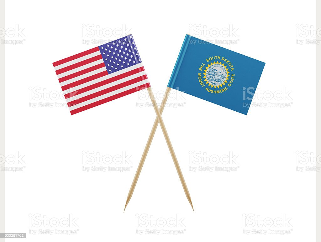 Tiny American and South Dakota Flag on a Toothpick stock photo
