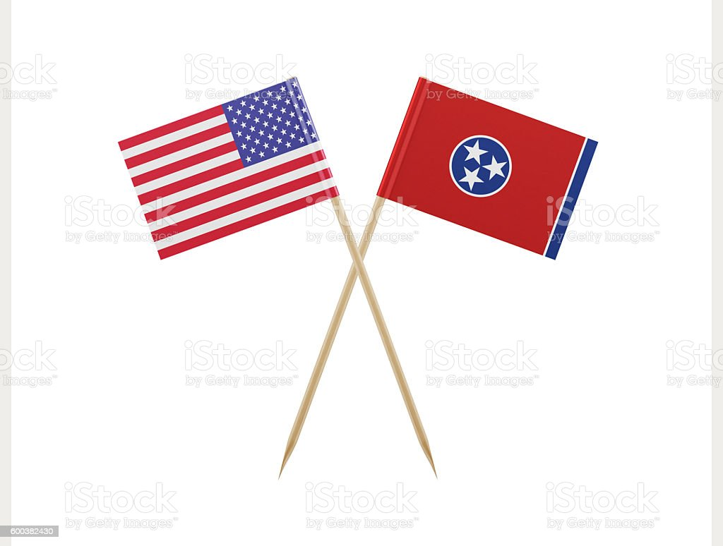 Tiny American and Tennessee Flag on a Toothpick stock photo