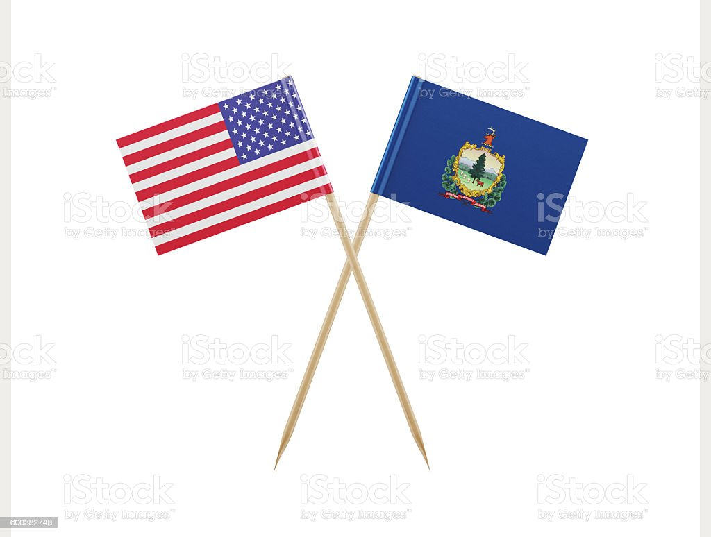 Tiny American and Vermont Flag on a Toothpick stock photo