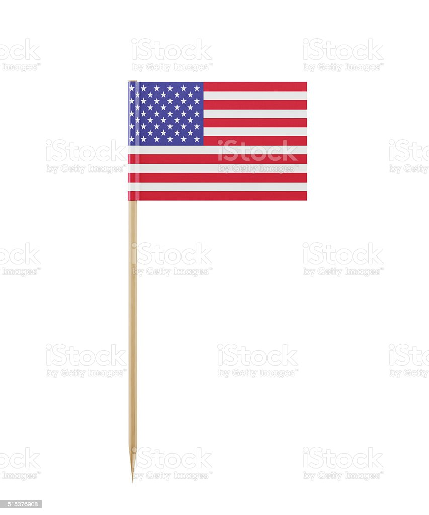 Tiny American Flag on a Toothpick stock photo
