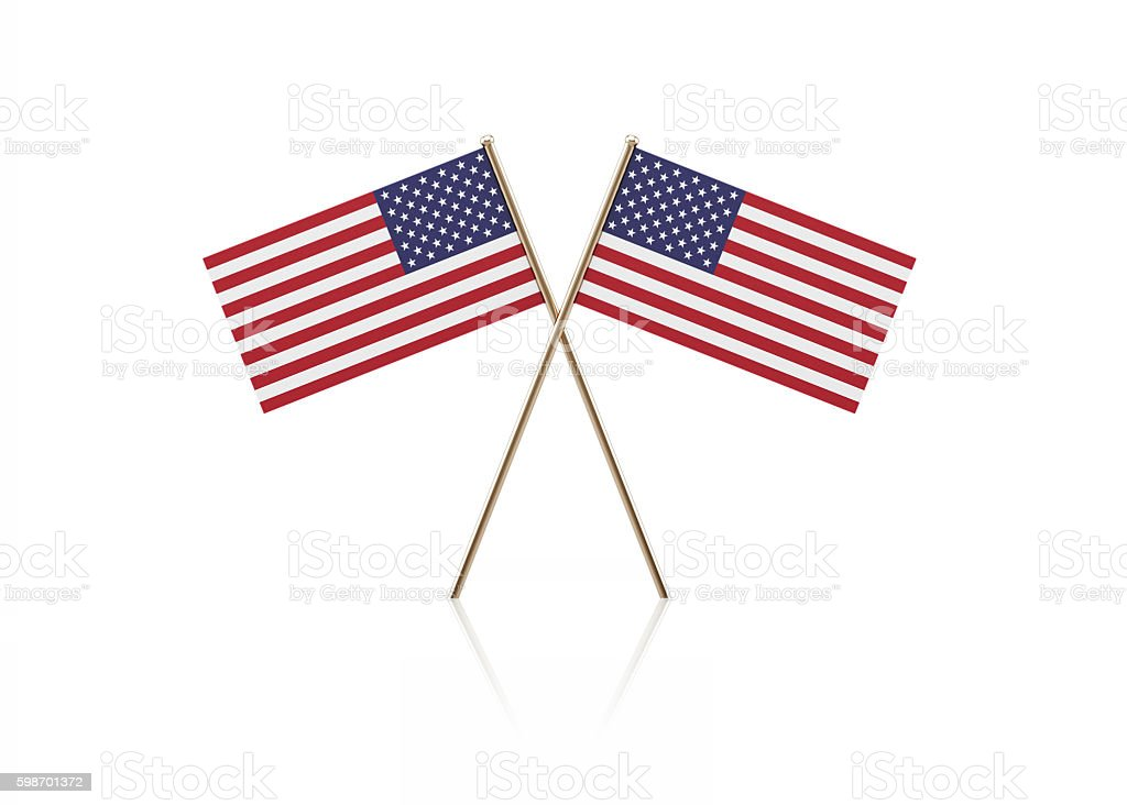 Tiny American Flag Pair on Gold Sticks stock photo