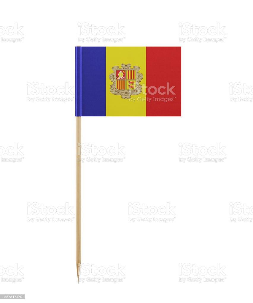 Tiny Andorran Flag on a Toothpick stock photo
