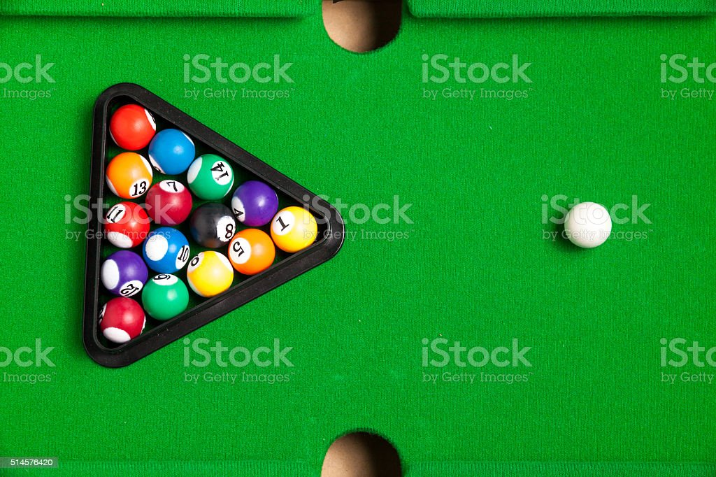 Tiny billiards game toy stock photo
