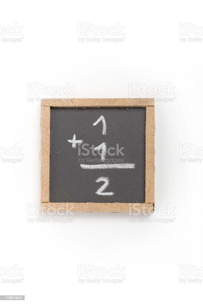 Tiny blackboard with elementary Maths stock photo