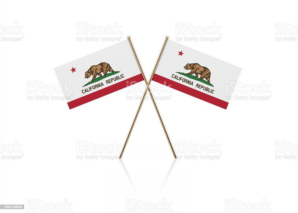 Tiny California Flag Pair on Gold Sticks stock photo