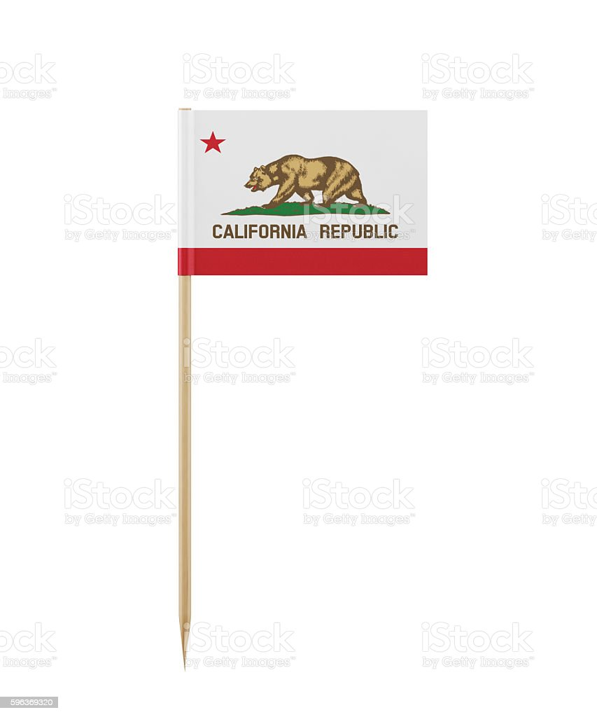 Tiny California State  Flag on a Toothpick stock photo