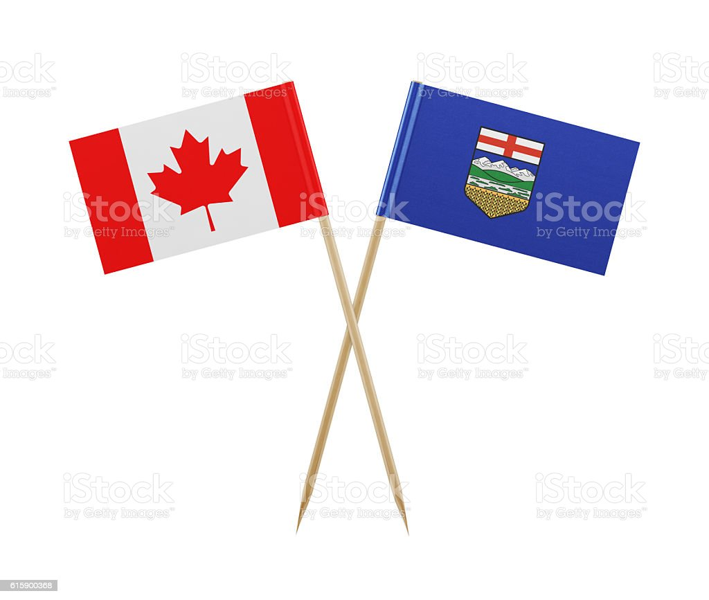 Tiny Canadian and Alberta Flag on a Toothpick stock photo