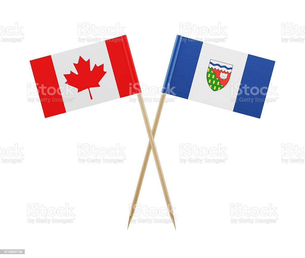 Tiny Canadian and the Northwest Territories Flag on a Toothpick stock photo
