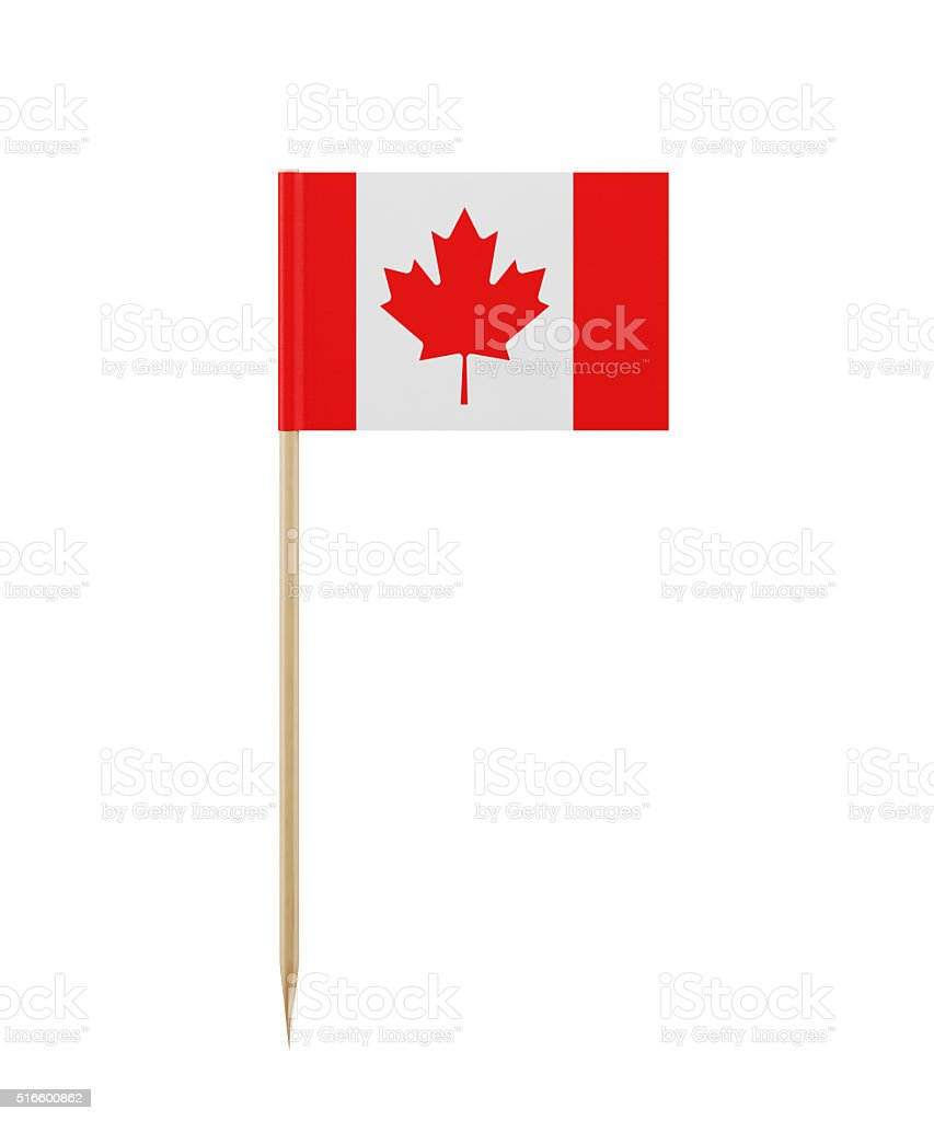 Tiny Canadian Flag on a Toothpick stock photo