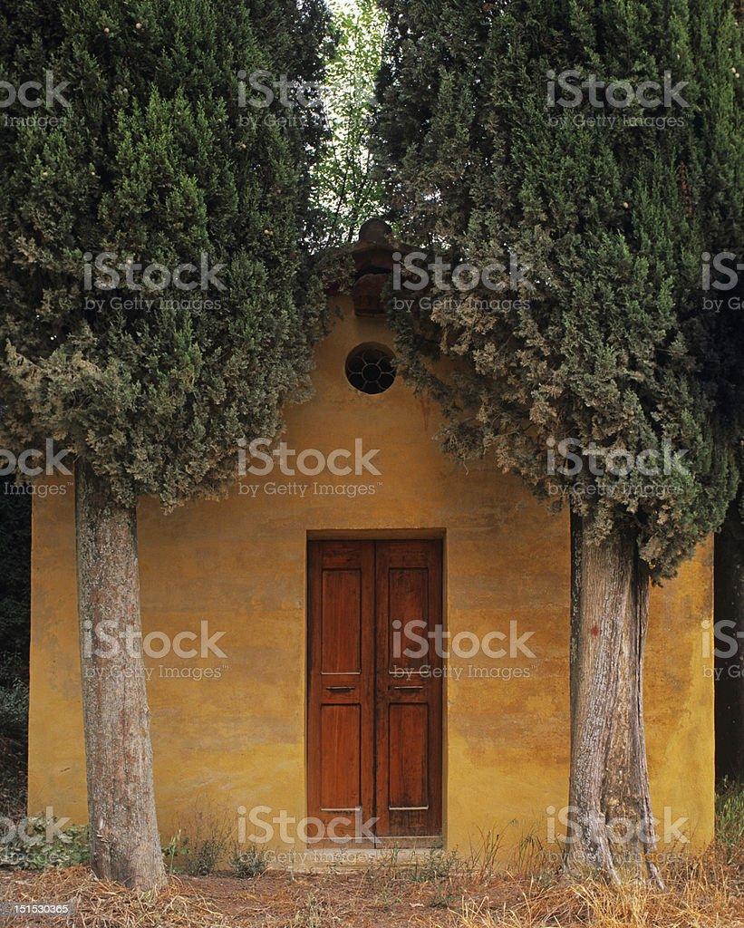 Tiny chapel near Lucignano d'Asso, Tuscany royalty-free stock photo