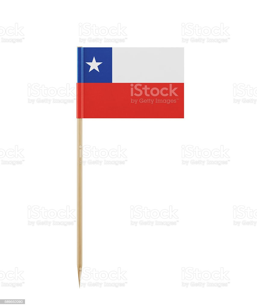 Tiny Chilean Flag on a Toothpick stock photo