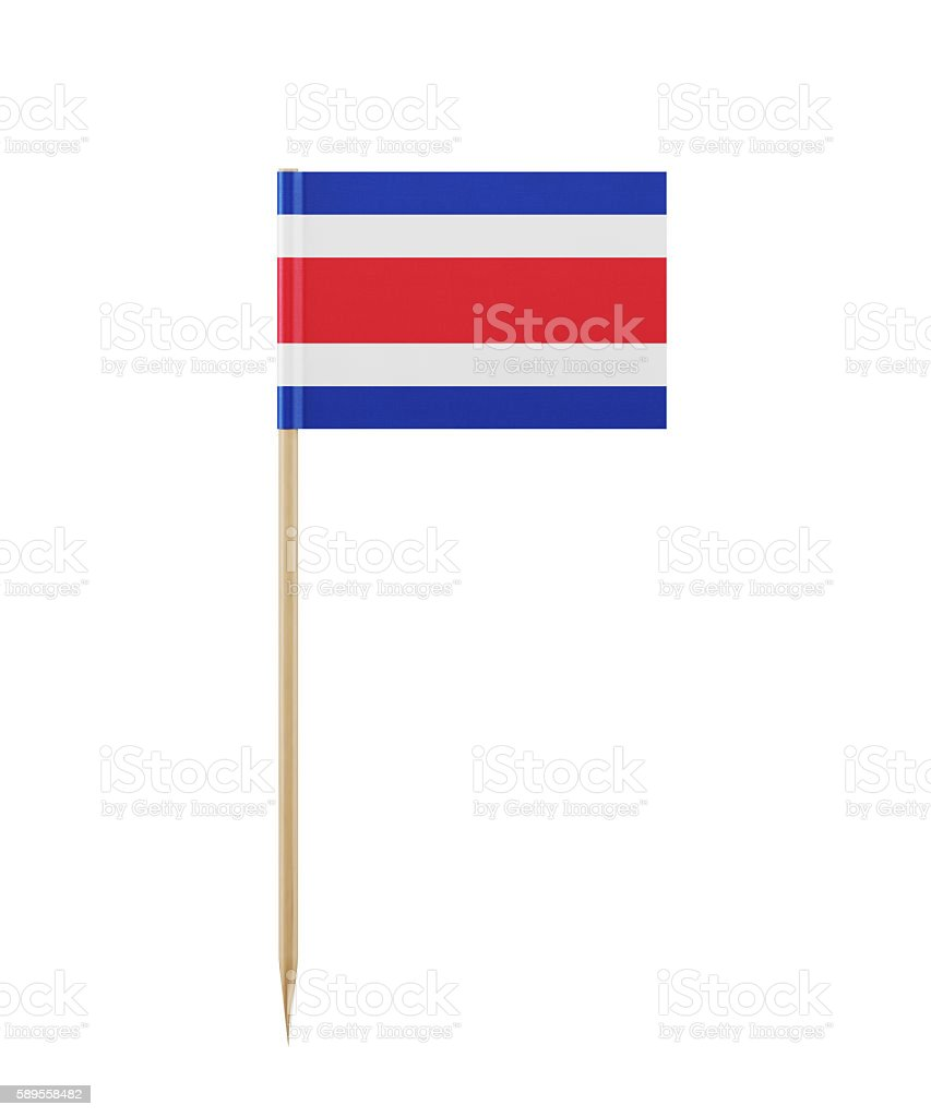Tiny Costa Rican Flag on a Toothpick stock photo