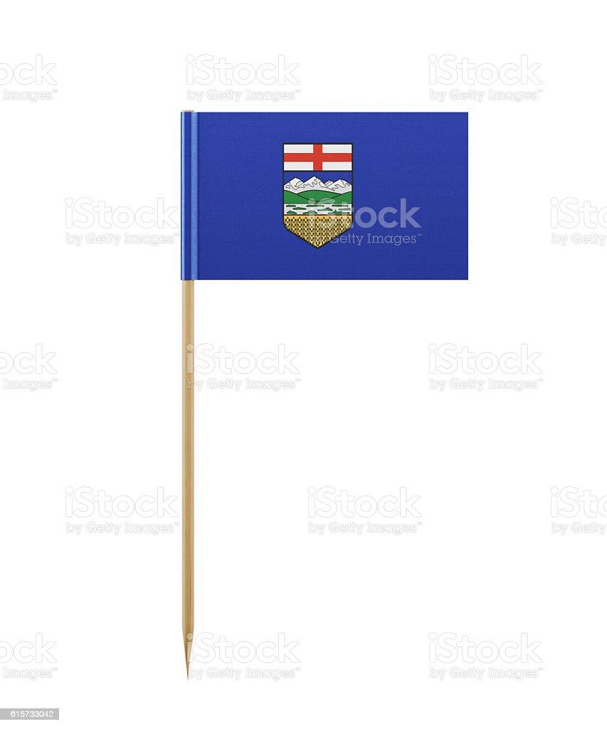 Tiny Flag of Alberta on a Toothpick stock photo