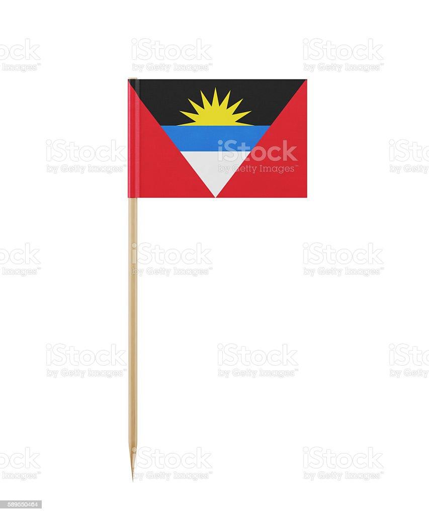 Tiny Flag of Antigua and Barbuda on a Toothpick stock photo