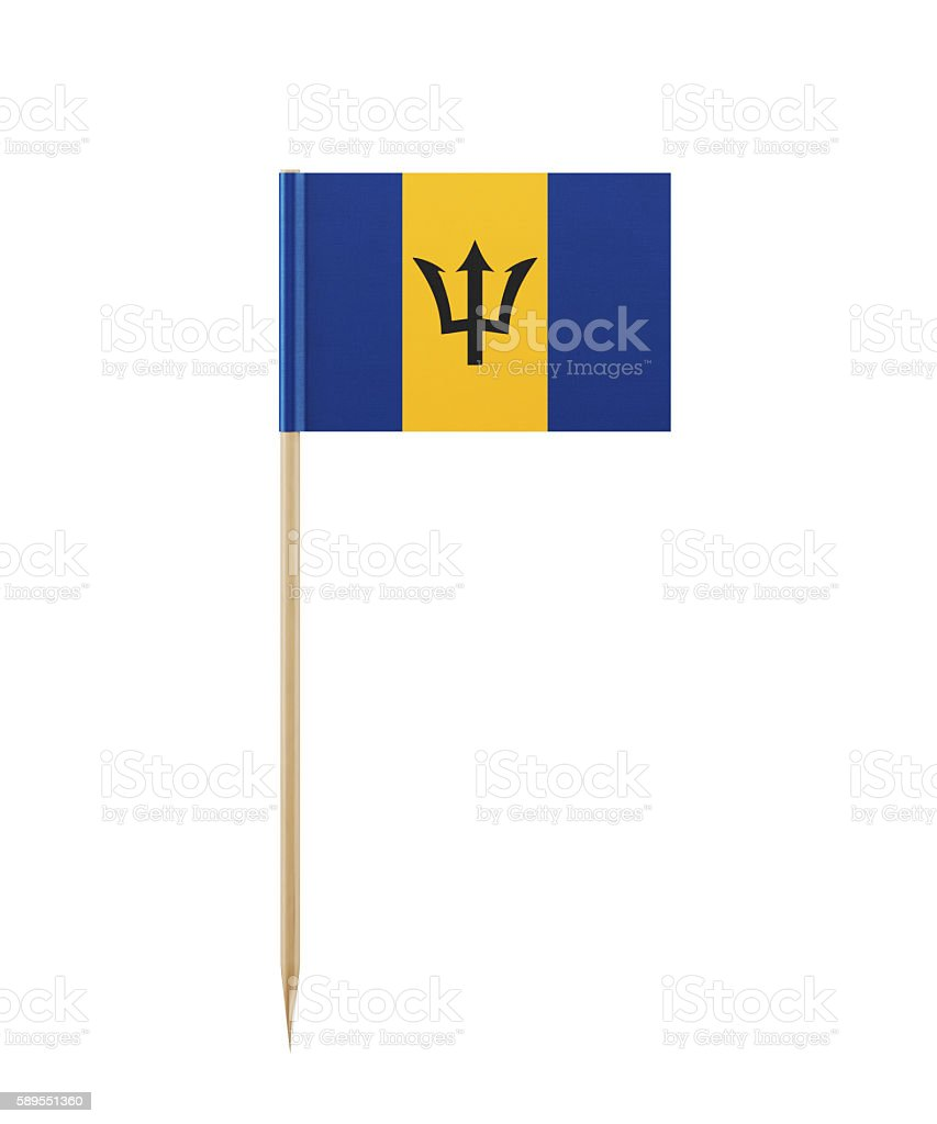 Tiny Flag of Barbados on a Toothpick stock photo