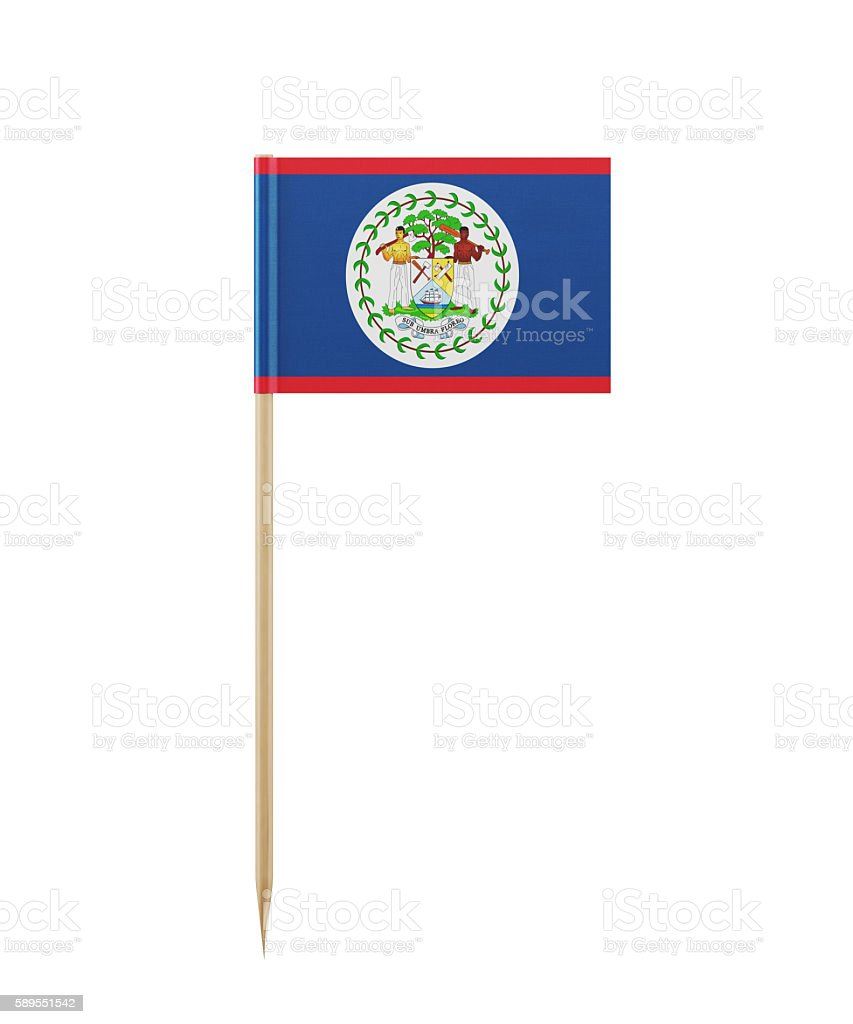 Tiny Flag of Belize on a Toothpick stock photo