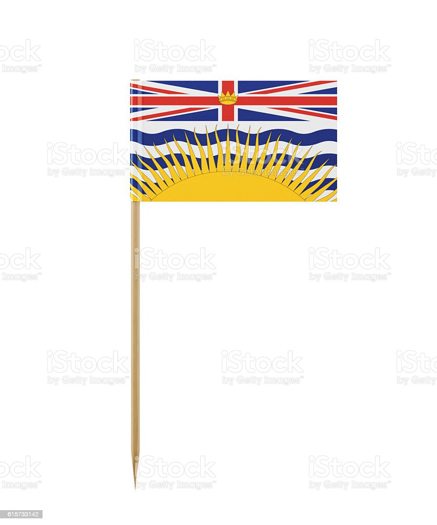 Tiny Flag of British Columbia on a Toothpick stock photo