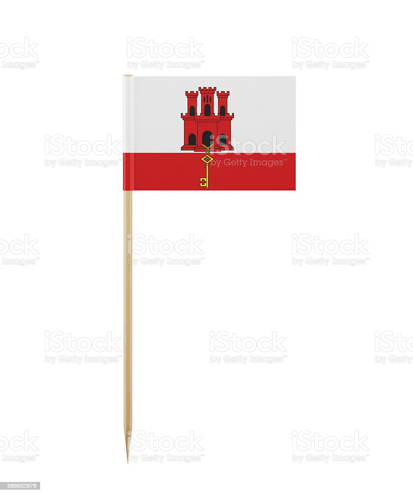 Tiny Flag of Gibraltar on a Toothpick stock photo
