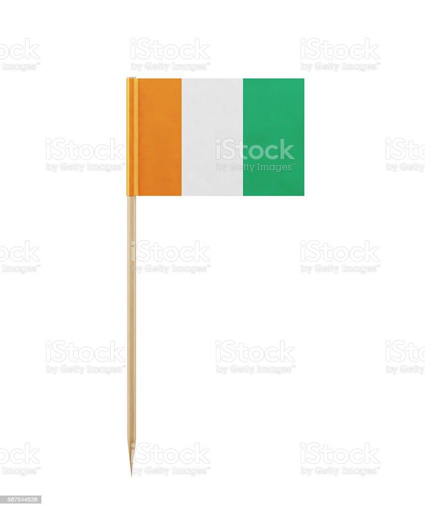 Tiny Flag of Ivory Coast on a Toothpick stock photo