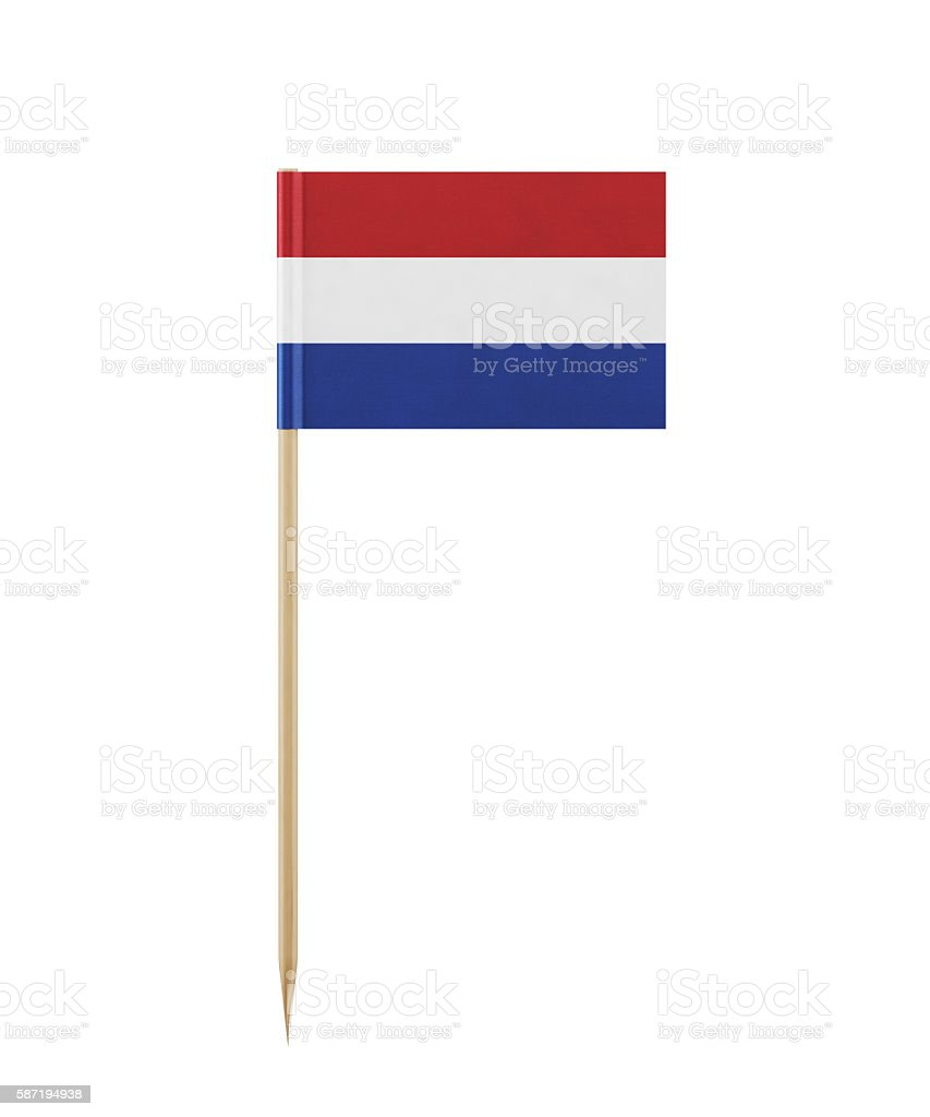 Tiny Flag of Netherlands on a Toothpick stock photo