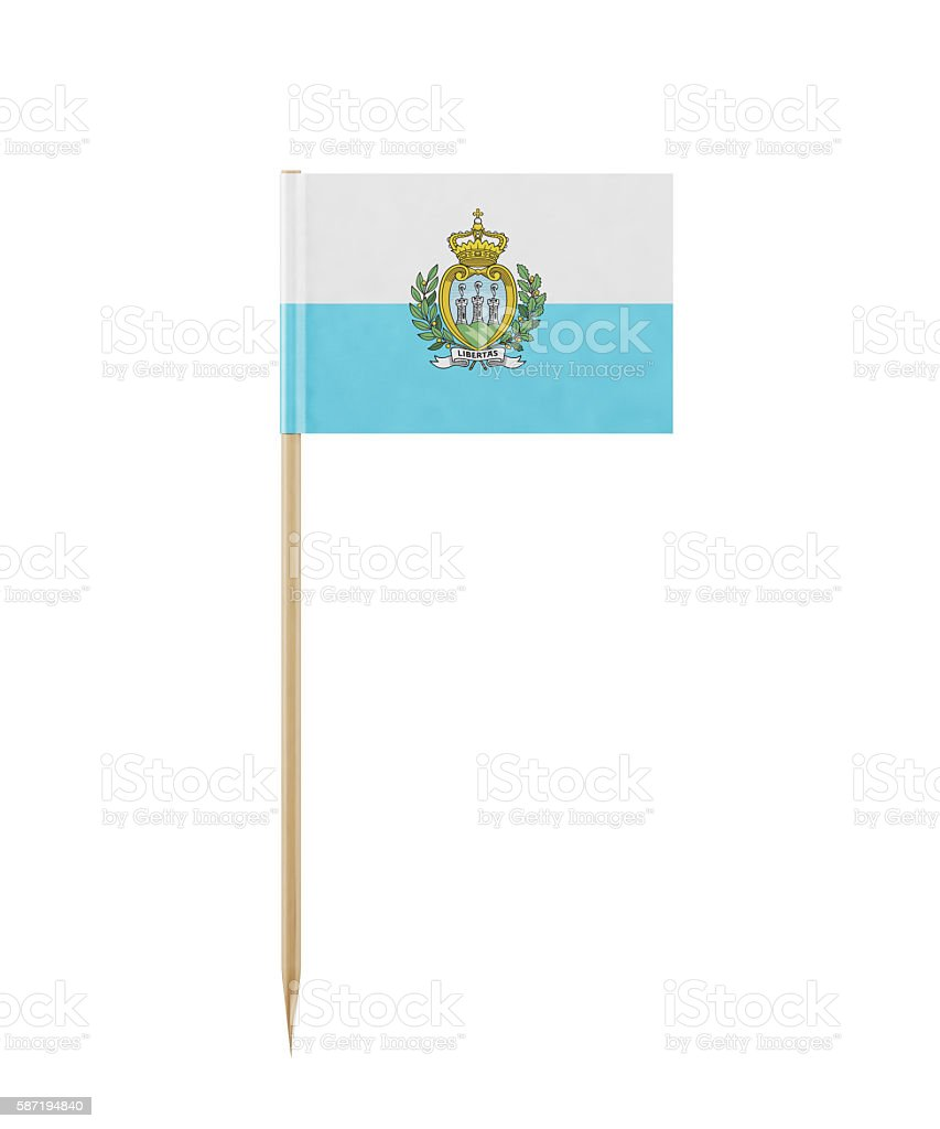 Tiny  Flag of San Marino  on a Toothpick stock photo
