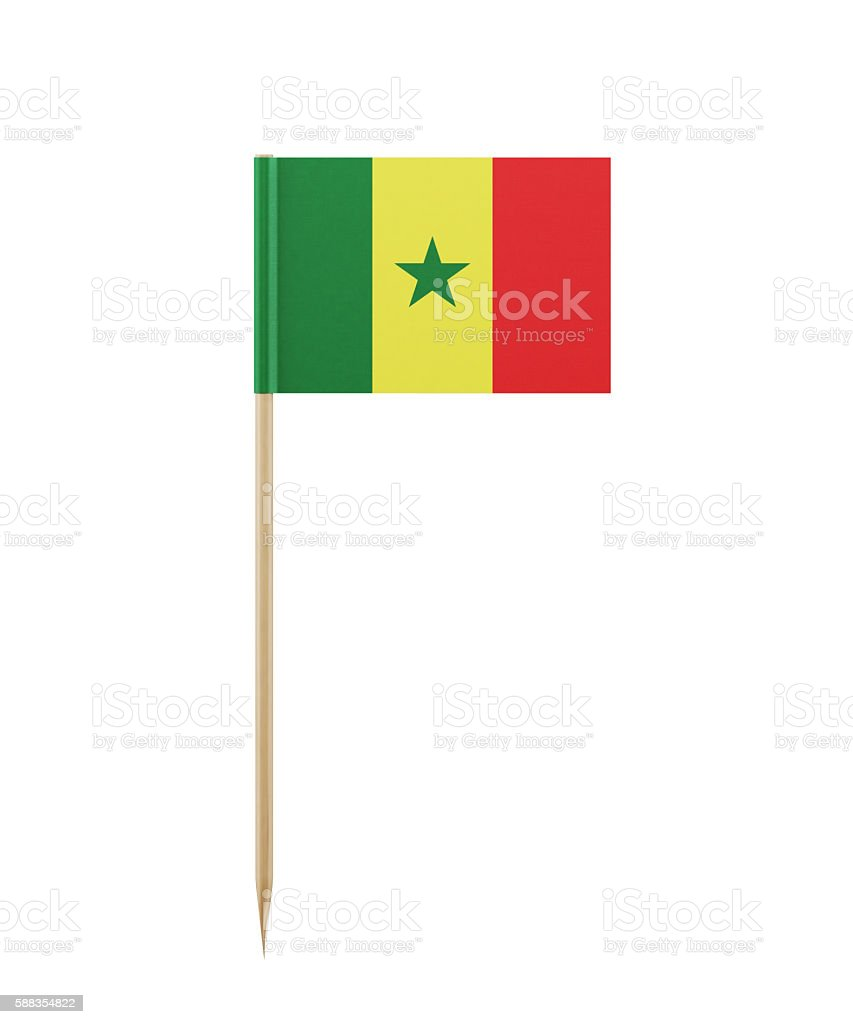 Tiny Flag of Senegal on a Toothpick stock photo