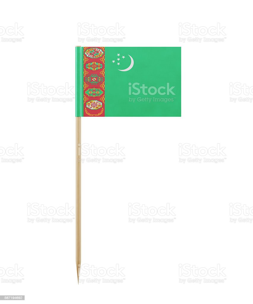 Tiny Flag of Turkmenistan on a Toothpick stock photo