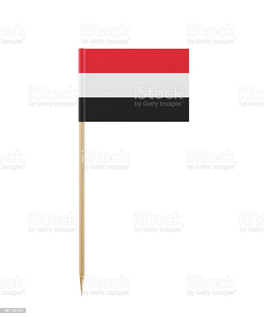 Tiny Flag of Yemen on a Toothpick stock photo
