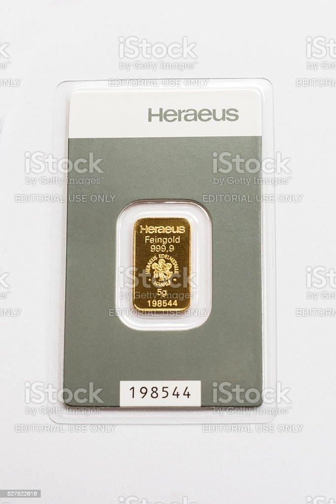 Tiny gold bar stock photo