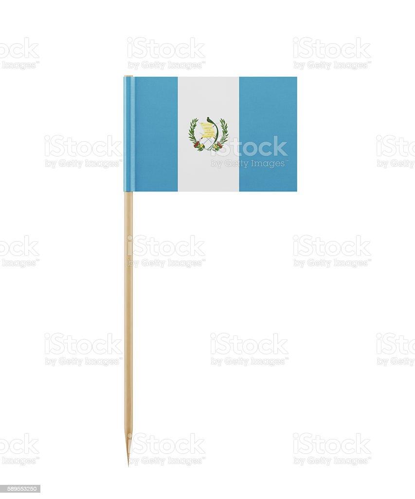 Tiny Guatemalan Flag on a Toothpick stock photo