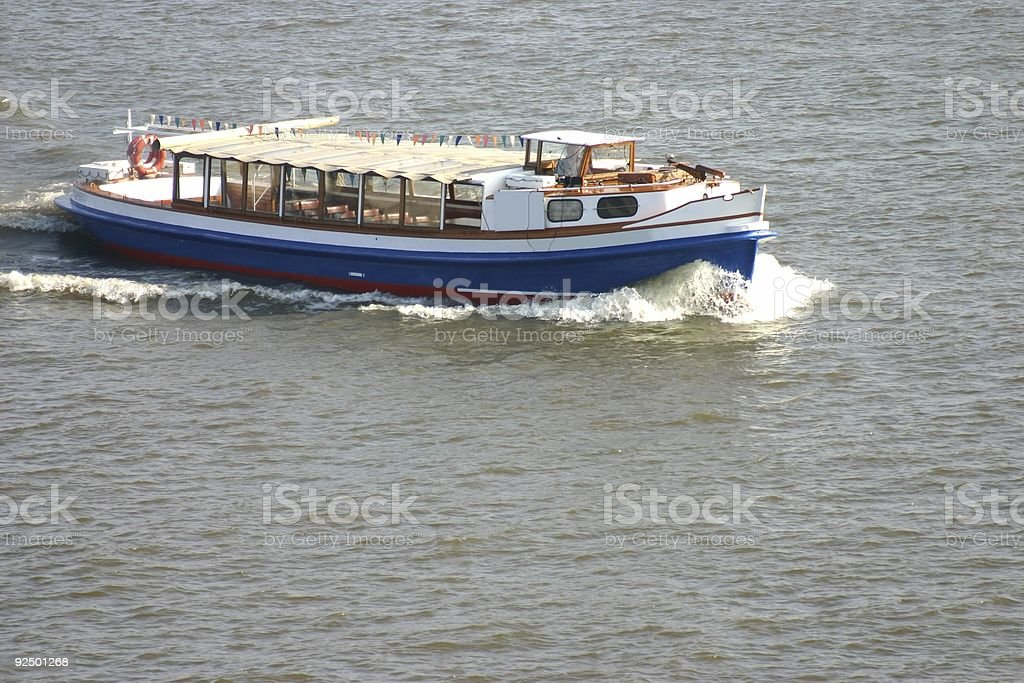 Tiny harbour ship stock photo