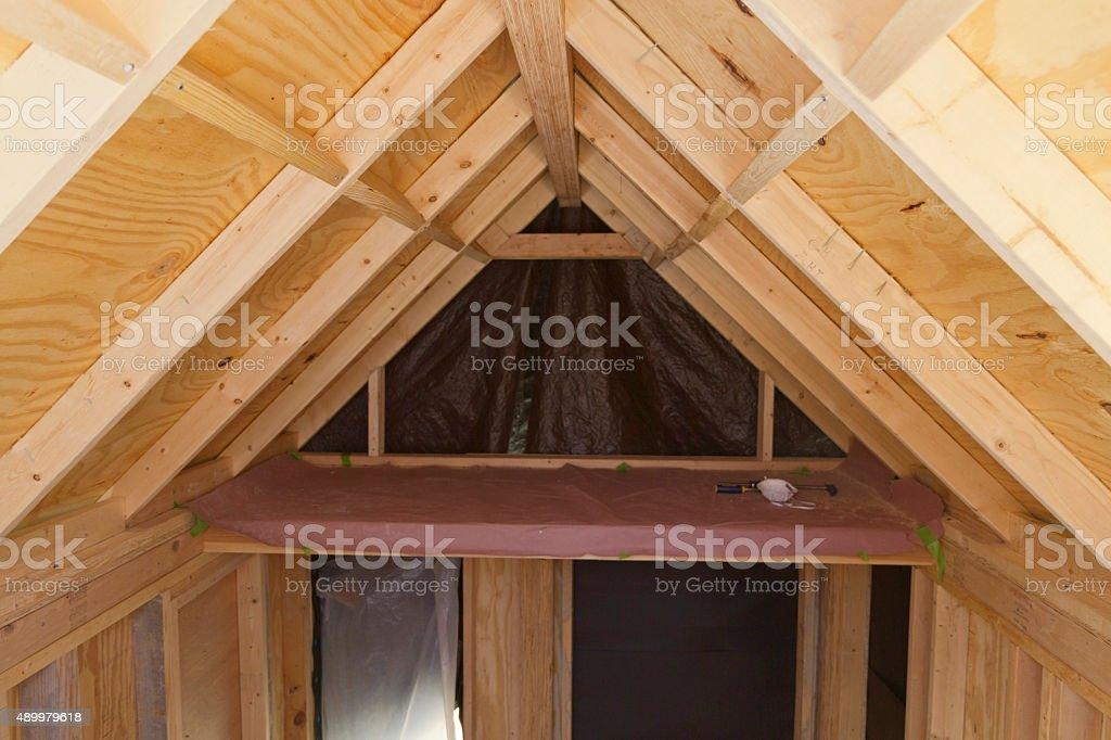Tiny House Storage Loft stock photo
