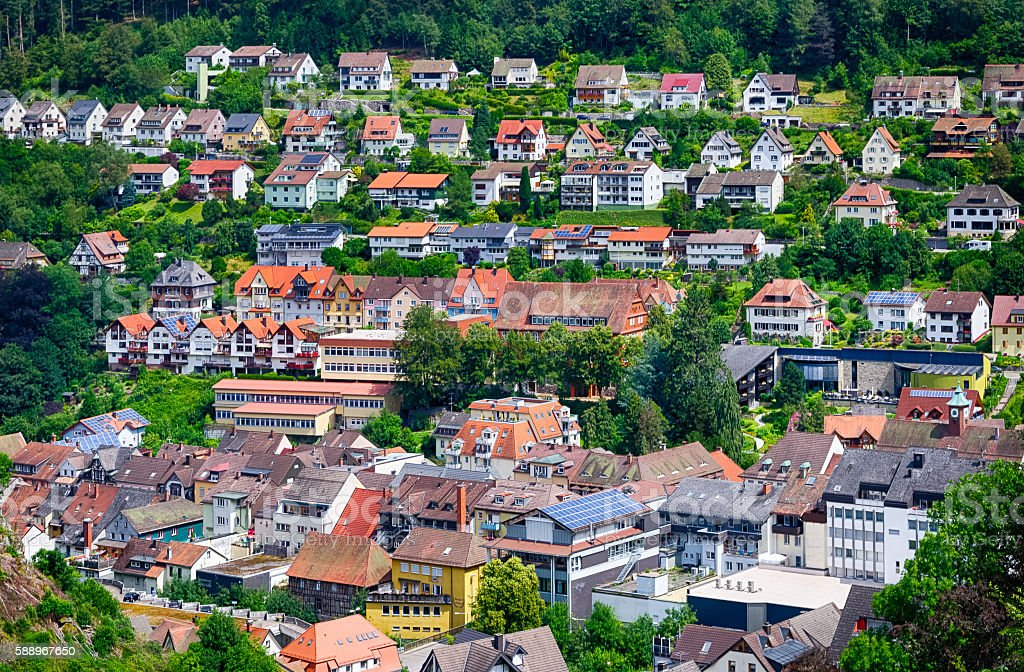 Tiny houses in Triberg city surrounded by Black forest, Germany stock photo