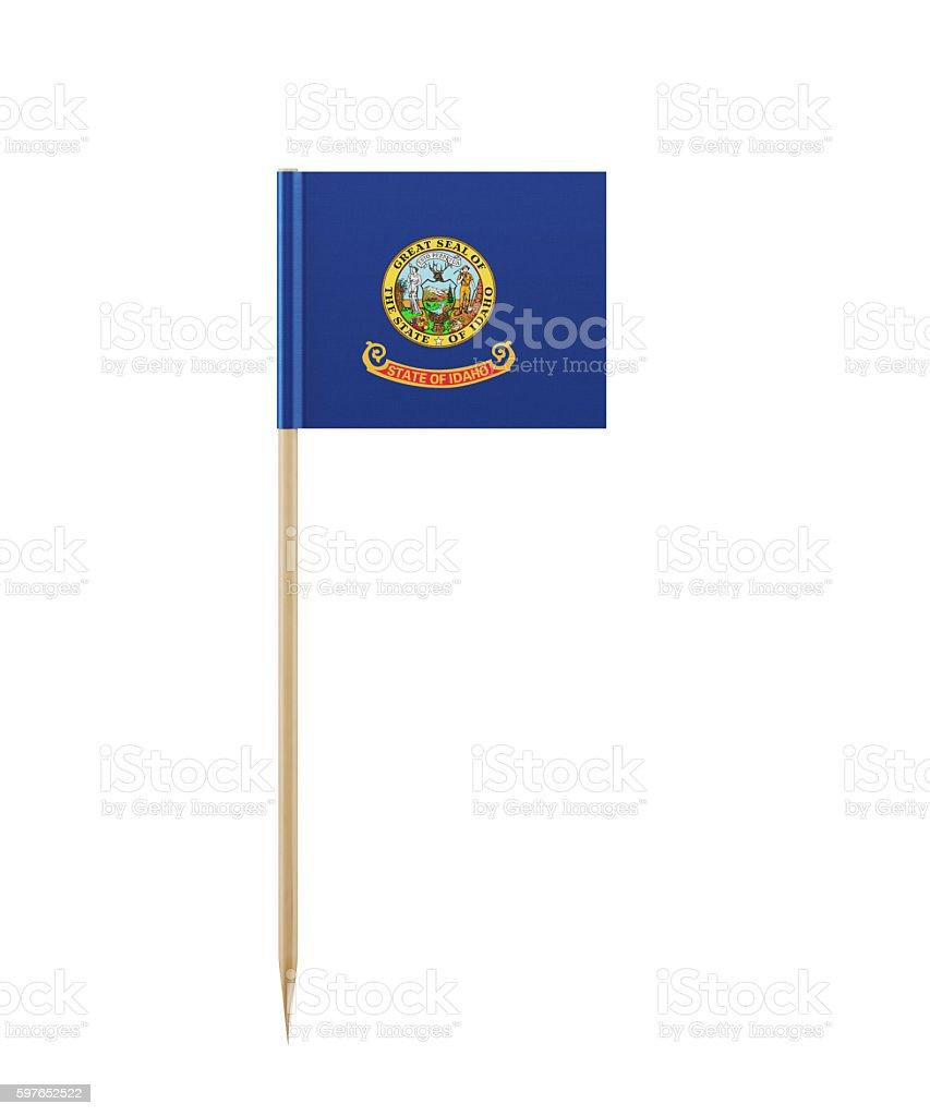 Tiny Idaho Flag on a Toothpick stock photo