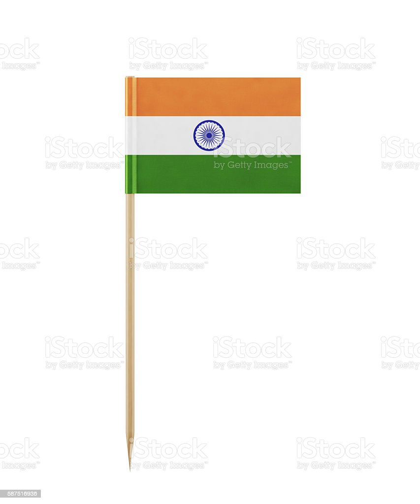 Tiny Indian Flag on a Toothpick stock photo
