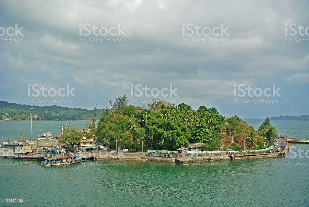 Tiny Island on the Bay of Bengal stock photo