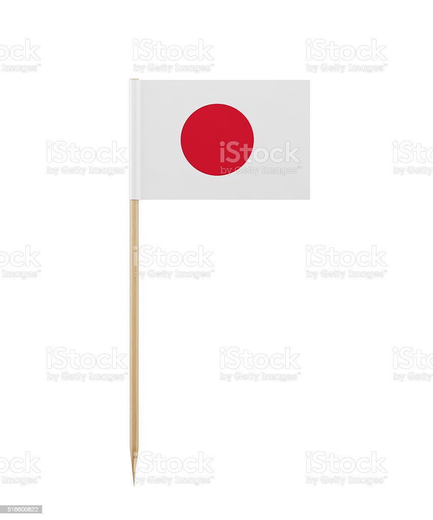 Tiny Japanese Flag on a Toothpick stock photo