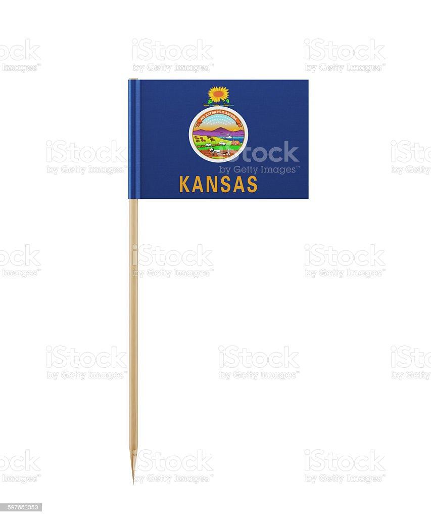 Tiny Kansas Flag on a Toothpick stock photo