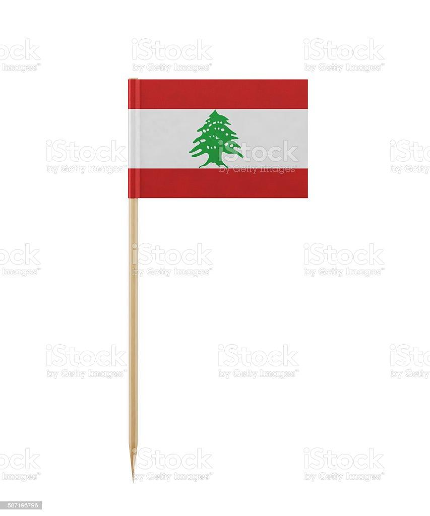 Tiny Lebanese Flag on a Toothpick stock photo