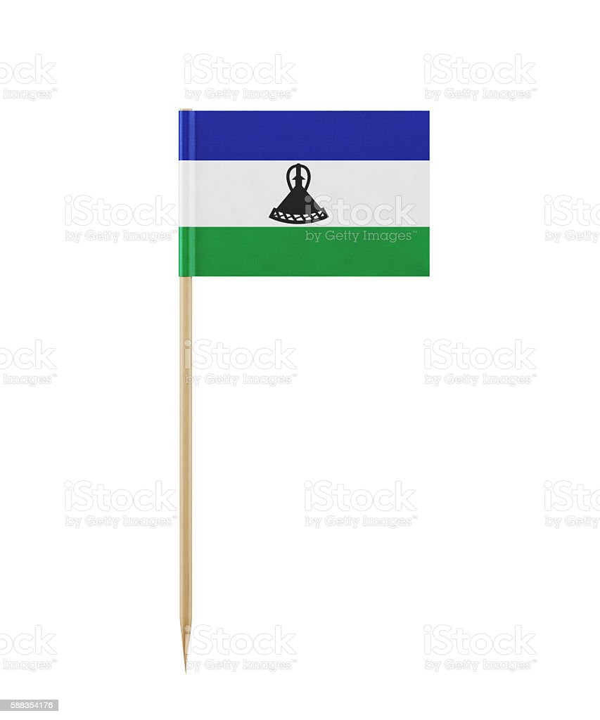 Tiny Lesotho Flag on a Toothpick stock photo