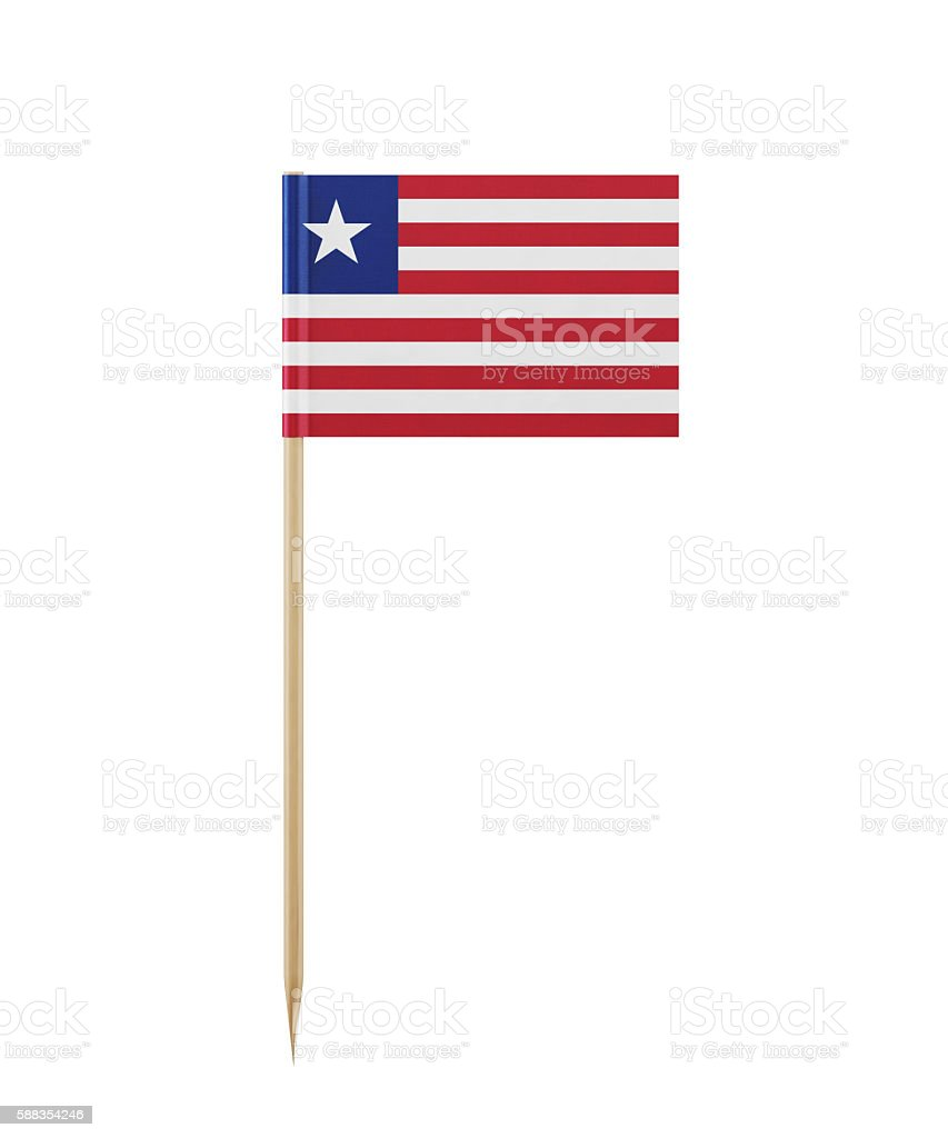 Tiny Liberian Flag on a Toothpick stock photo