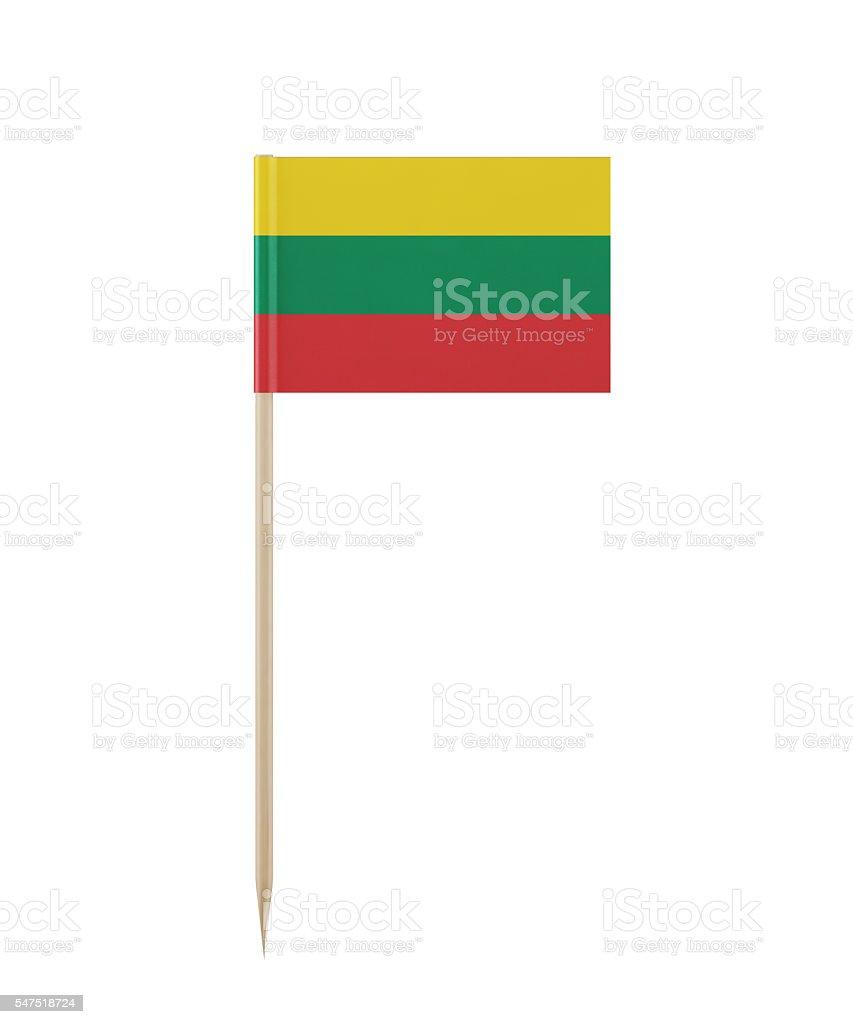 Tiny Lithuanian Flag on a Toothpick stock photo