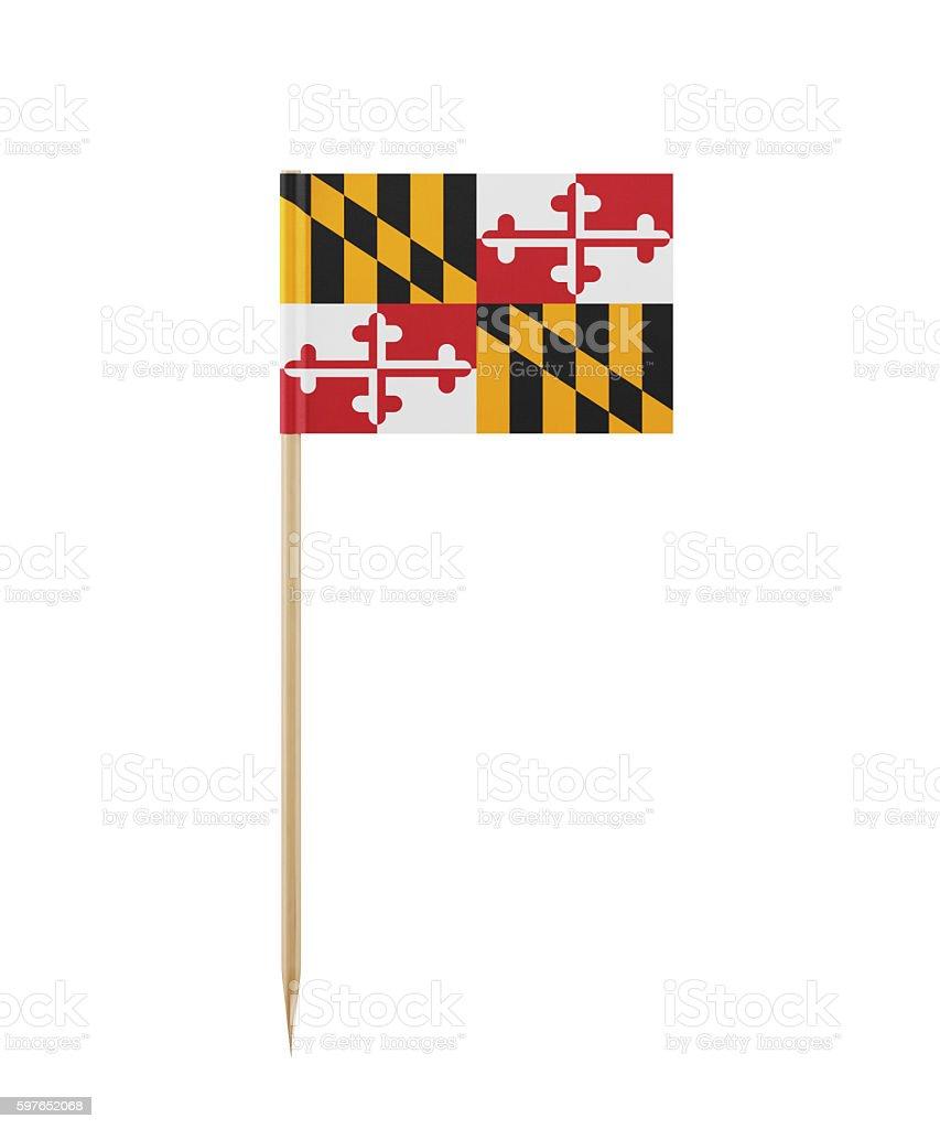 Tiny Maryland Flag on a Toothpick stock photo